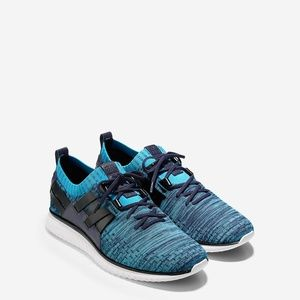 Cole Haan GrandMotion Woven Knit Blue Sneakers NEW